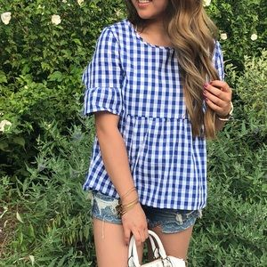 Plaid checkered blouse blue and white
